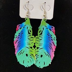 Peacock Feather Earrirngs